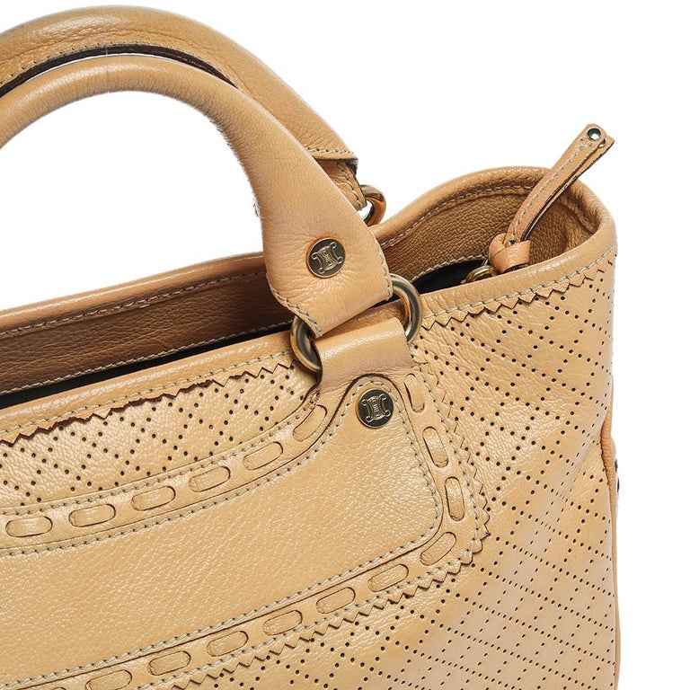 Celine Yellow Perforated Leather Boogie Tote For Sale 2