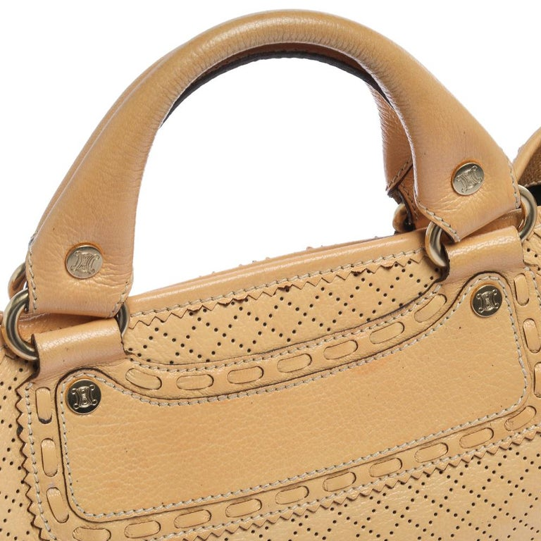 Celine Yellow Perforated Leather Boogie Tote For Sale 3