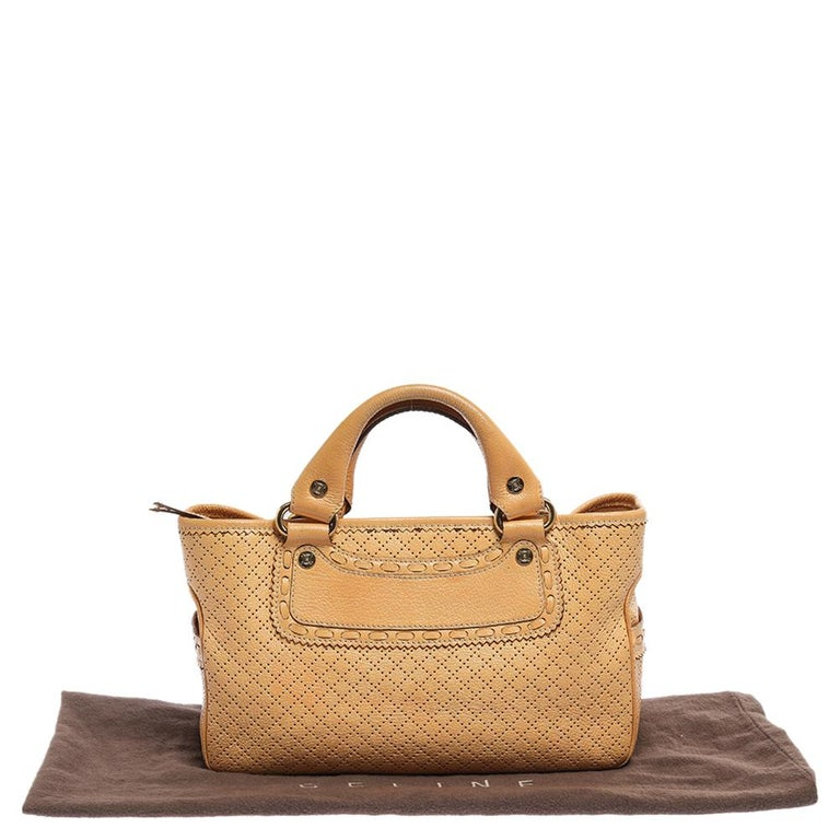 Celine Yellow Perforated Leather Boogie Tote For Sale 4