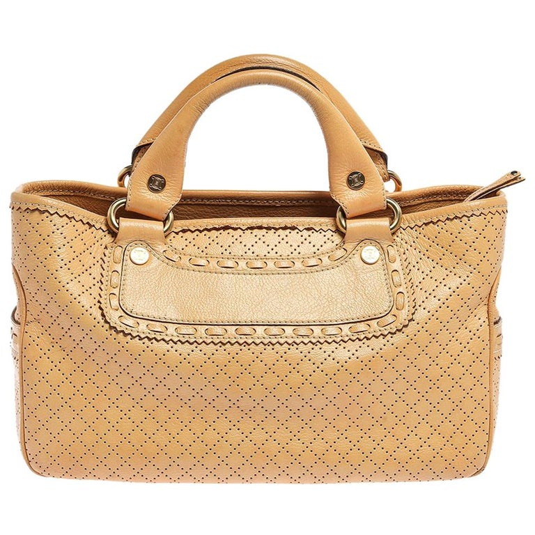 Celine Yellow Perforated Leather Boogie Tote For Sale