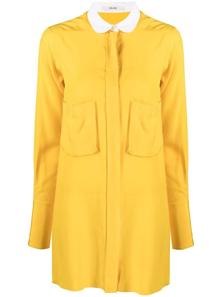 Céline Yellow Silk Shirt In Excellent Condition For Sale In London, GB