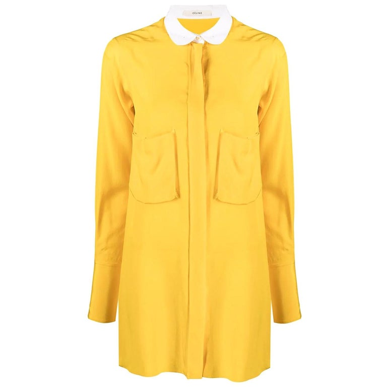 Céline Yellow Silk Shirt For Sale