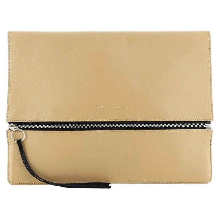 Celine Zip Clutch Leather Oversized For Sale