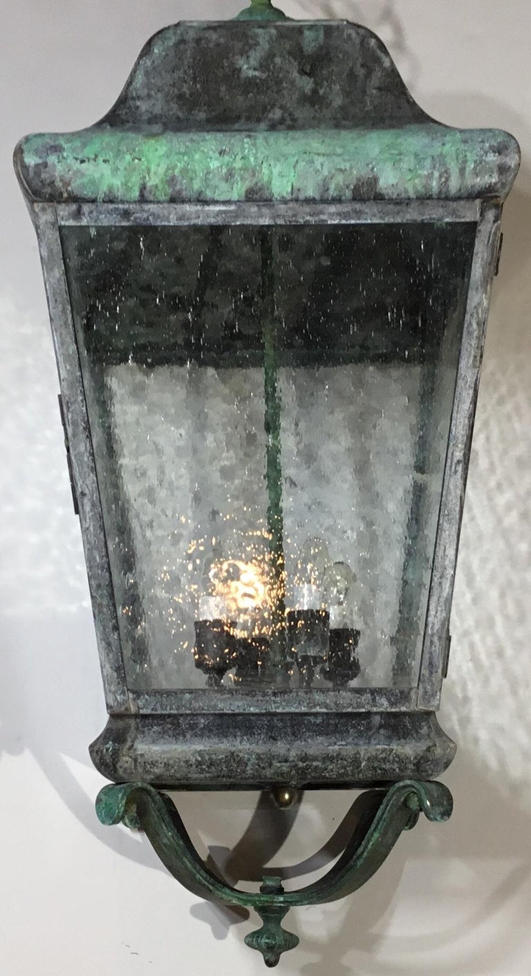 American Celling Hanging Brass and Copper Lantern For Sale