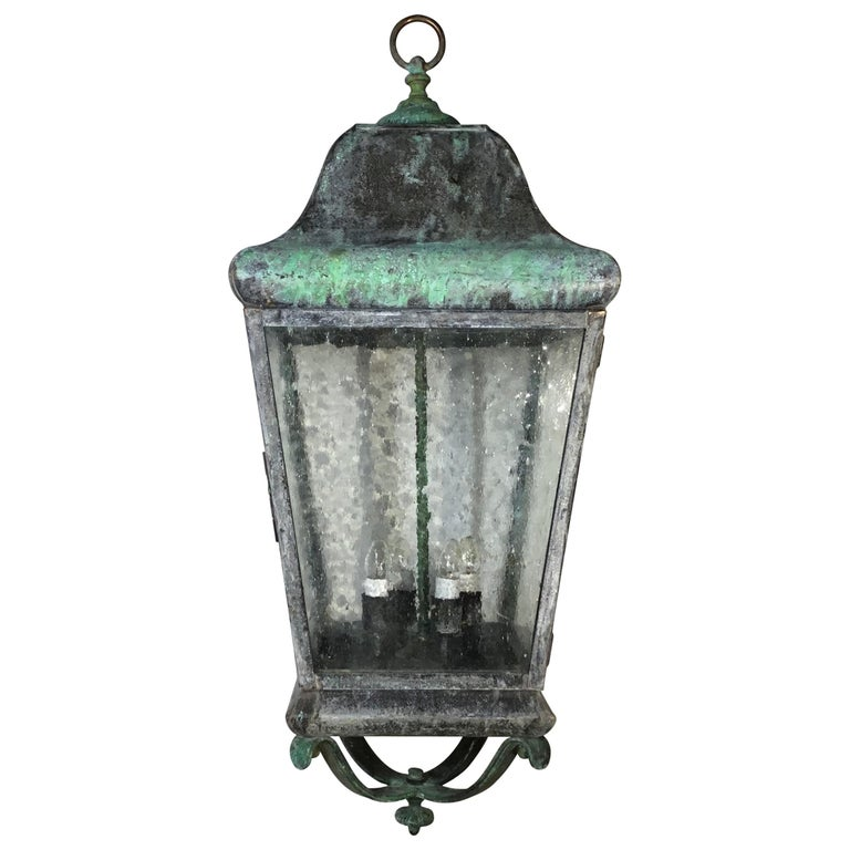 Celling Hanging Brass and Copper Lantern For Sale