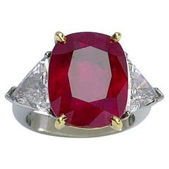Cellini 13.26CT Cushion Burmese Ruby Three-Stone Ring with 2.37 Carat Diamonds
