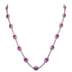 Cellini 18 Karat Gold, 10.28 Carat Pink Sapphire and 4.29 Carat Diamond Necklace