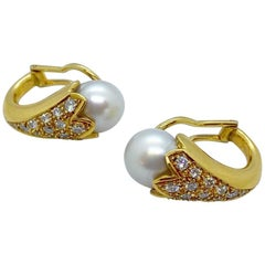 "Cellini 18 Karat Gold, 1.37 Carat Diamond and South Sea Pearl ""Sconce"" Earrings"