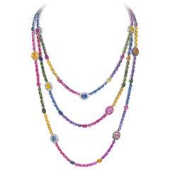 Cellini 18 Karat Gold, 149.5 Carat Rainbow Sapphire and Diamond 3-Row Necklace