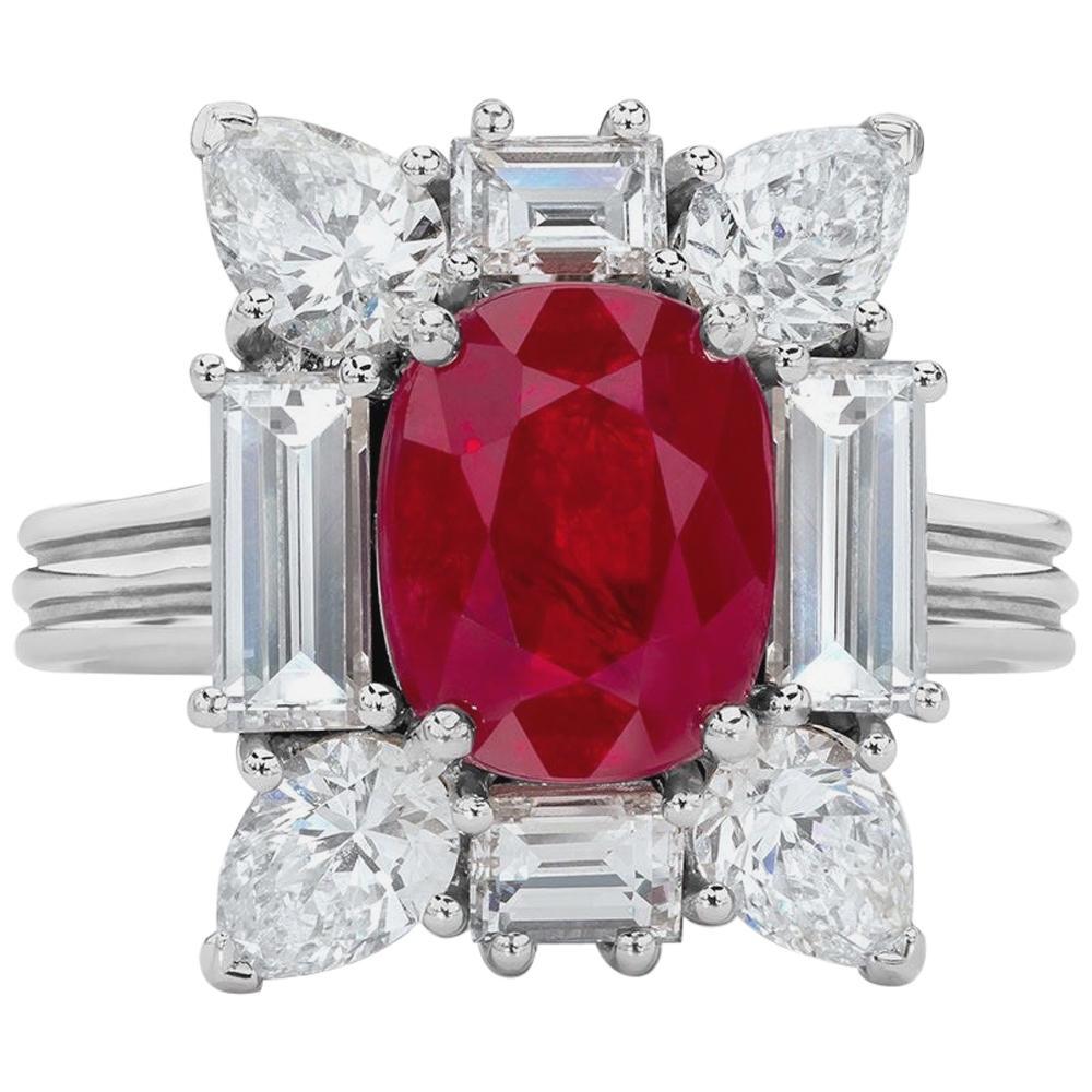Cellini 18 Karat Gold 2.88 Carat Burmese Ruby Ring with 2.88 Carat Diamonds