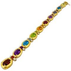 Cellini 18 Karat Gold 34.35 Carat Semi Precious and 0.20 Carat Diamond Bracelet