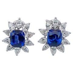 Cellini 18 Karat Gold 7.64CT. Cushion Blue Sapphire & 3.85Ct. Diamond Earrings