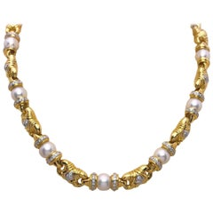 Cellini 18 Karat Gold and Cultured Pearl Necklace with 1.98 Carat of Diamonds