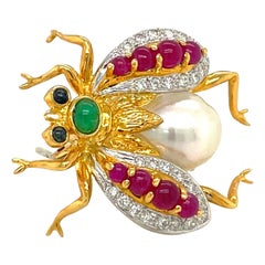 Cellini 18 Karat Gold Bee Brooch with Diamonds, Gem Stones and South Sea Pearl