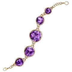 Cellini 18 Karat Gold Bracelet with 13.00 Carat Amethyst and 1.84 Carat Diamonds