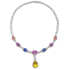 Cellini 18 Karat Gold Diamond & 13.38 Carat Multicolored Sapphire Drop Necklace