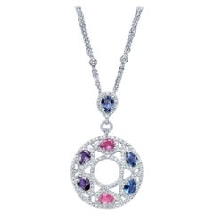 Cellini 18 Karat Gold & Diamond Pendant with Pear Shaped Multicolored Sapphires
