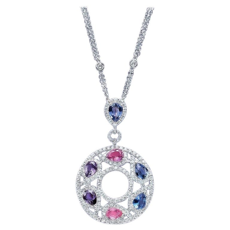 Cellini 18 Karat Gold & Diamond Pendant with Pear Shaped Multicolored Sapphires For Sale