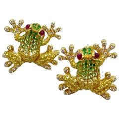 Cellini 18 Karat Gold, Diamond, Yellow Sapphires and Tsavorite Frog Earrings
