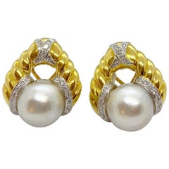 Cellini 18 Karat Gold Earrings with South Sea Pearls and 1.10 Carat Diamonds