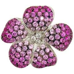 Cellini 18 Karat Gold Flower Brooch, 4.50Ct. Pink Sapphires & .15 Carat Diamonds