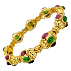 Cellini 18 Karat Gold Link Bracelet with Rhodolite, Iolite and Green Tourmaline