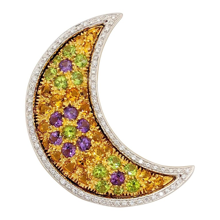 Cellini 18 Karat Gold Moon Pendant/Brooch, Diamonds and Multicolored Gems For Sale