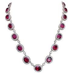 Cellini 18 Karat Gold Necklace with 37.77 Carat Rubelite & 10.43 Carat Diamonds