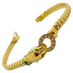 Cellini 18 Karat Gold Panther Head Bracelet with .32 Carat Diamonds and Emeralds