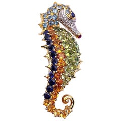 Cellini 18 Karat Gold Seahorse Brooch with Diamonds and Semi-Precious Stones