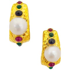 Cellini 18 Karat Gold South Sea Pearl and Gem Stone Hammered Hoop Earrings
