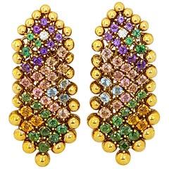 Cellini 18 Karat Mesh Yellow Gold, 9.69 Carat Semi Precious Earrings