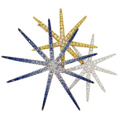Cellini 18 Karat WG, Fireworks Brooch with Blue & Yellow Sapphires and Diamonds