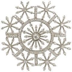 Cellini 18 Karat White Gold and 1.51 Carat Diamond Micro Pave Snowflake Brooch