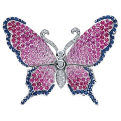 Cellini 18 Karat White Gold, Diamond, Pink and Blue Sapphire Butterfly Brooch