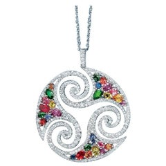 Cellini 18 Karat White Gold Diamonds and Multicolored Sapphires Pendant Necklace