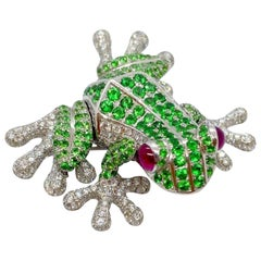 Cellini 18 Karat White Gold Jumping Frog Brooch with Tsavorites and Diamonds
