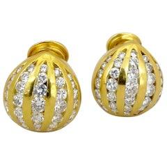Cellini 18 Karat Yellow Gold 2.13 Carat Diamond Button Earrings