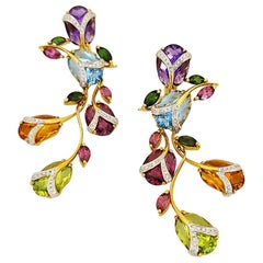 Cellini 18 Karat Yellow Gold 25.65 Carat Semi Precious Hanging Tulip Earrings