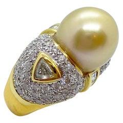 Cellini 18 Karat Yellow Gold, 3.60 Carat Diamond and South Sea Golden Pearl Ring