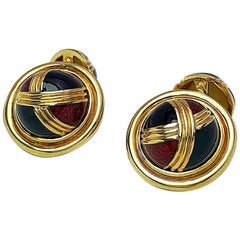 Cellini 18 Karat Yellow Gold Dome Cufflinks with Burgundy and Black Enamel