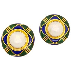 Cellini 18 Karat Yellow Gold Enamel Earrings with Mabe Pearl Centers