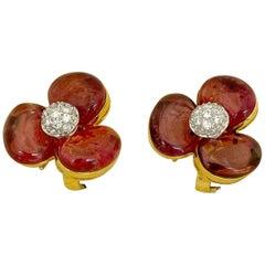 Cellini 18 Karat Yellow Gold Pink Tourmaline and .40 Carat 3 Petal Earrings