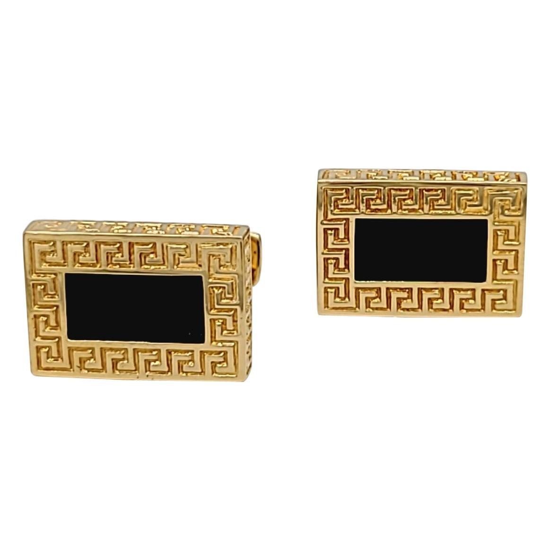 Cellini 18 Karat Yellow Gold Rectangle Greek Key Onyx Cuff Links