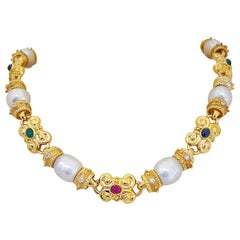 Cellini 18 Karat Yellow Gold South Sea Pearl, Diamonds and Gem Stones Necklace