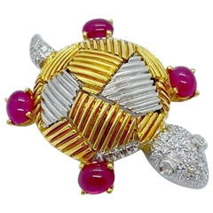 Cellini 18 Karat Yellow & White Gold Turtle Brooch with 2.08CT Rubies & Diamonds