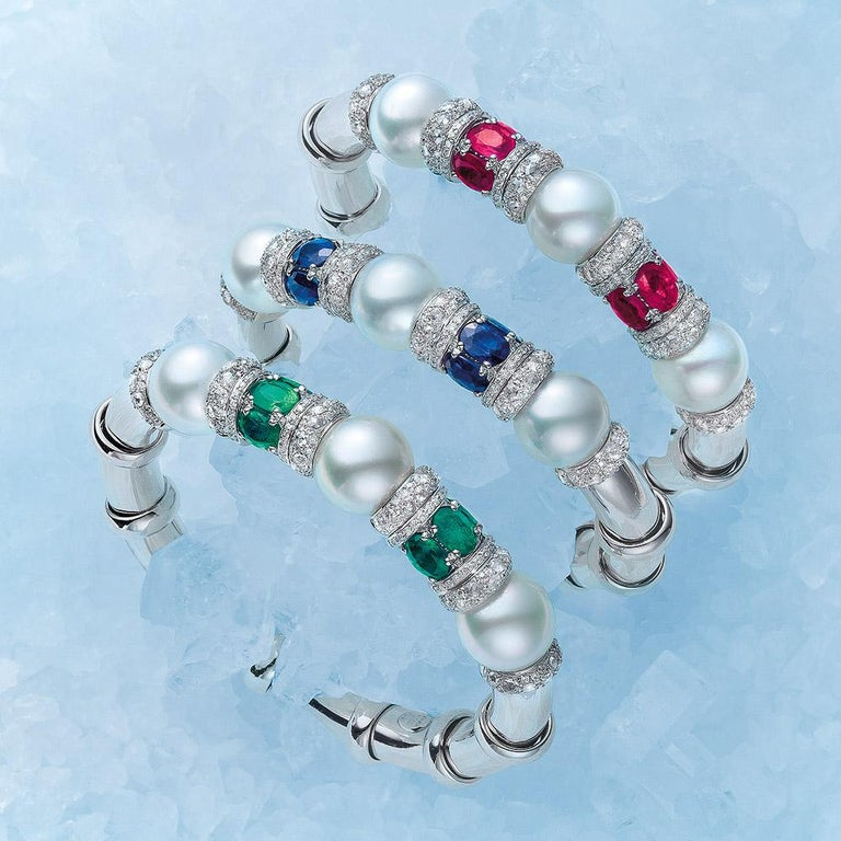 Contemporary Cellini 18 KT White Gold, 4Ct. Emerald, Diamond and South Sea Pearl Bracelet For Sale