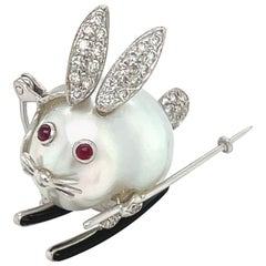 Cellini 18K White Gold Baroque Pearl Ski Bunny Brooch with Diamonds and Rubies