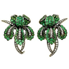Cellini 18kt Blackened Gold 1.10ct Diamond and 6.85ct Tsavorite Orchid Earrings