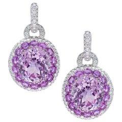 Cellini 18KT Gold, 22.61Ct. Kunzite, 4.65Ct. Sapphire & 3.07Ct. Diamond Earrings